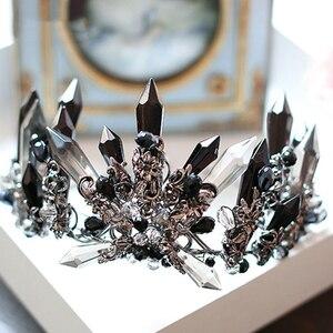 Image 5 - HIMSTORY couronne rétro noir cristal surdimensionné reine diadème, coiffure pour mariage, Studio Photo, accessoires pour cheveux