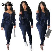 Genuo Tracksuit Two Piece Set Women Pant + Hooded Zipper Jacket Top Velvet Sweatshirt Sweatpants Suit  Casual Matching