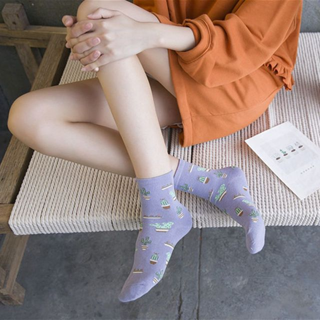 Cactus Patterned Comfortable Lovely Cute Cotton Socks