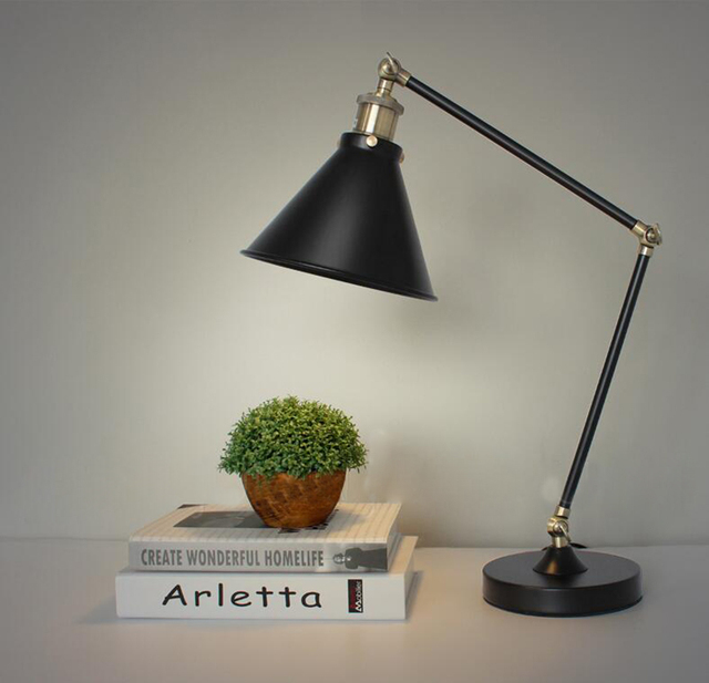 American Style Retro Table Lamp With Iron Shade Neoclassical Iron Industrial  Desk Lamp Free EMS Shipping