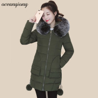 Women Hooded Parkas Coat Real Fur Hood Outwear Parka Fashion Cotton Long Winter Womens Padded Jacket