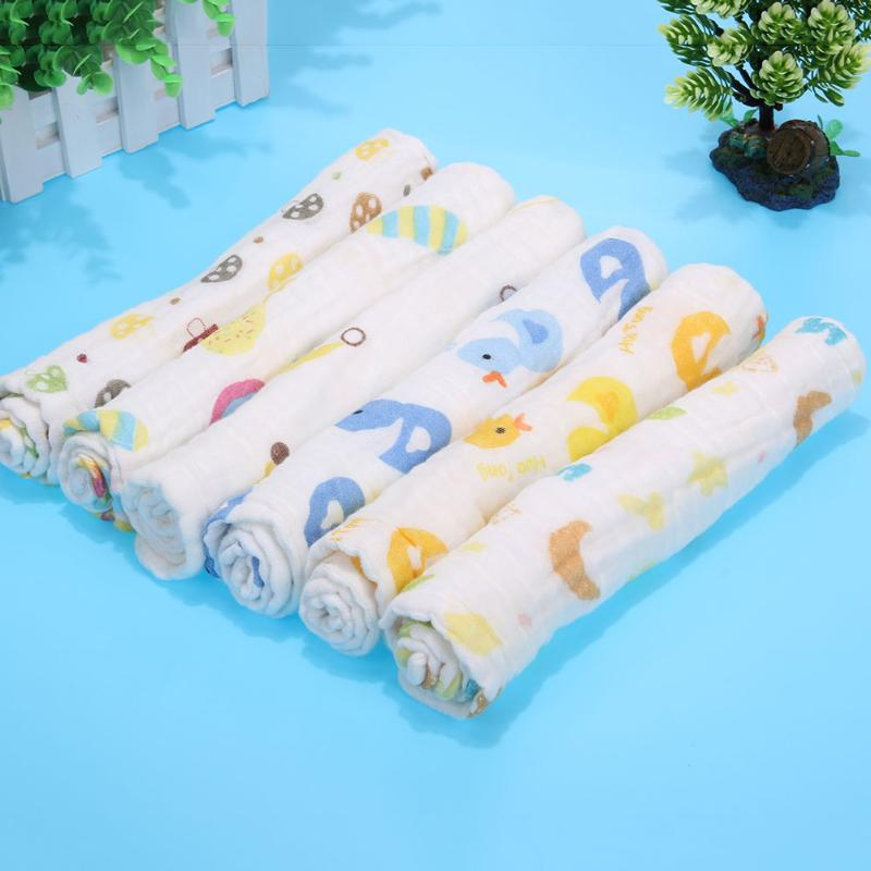 Baby Bath Towel Baby Towels Newborn Soft Strong Water Absorption Gauze 30*50cm 6 layers Cartoon Cotton Towel for Baby Boy&Girls