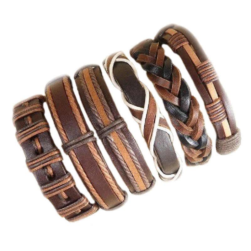 10 piezas por lote al por mayor (10 piezas al azar) pulseras trenzadas de estilos mixtos o pulseras de cuero de 6 piezas para hombres envolver brazalete fiesta regalos MX5