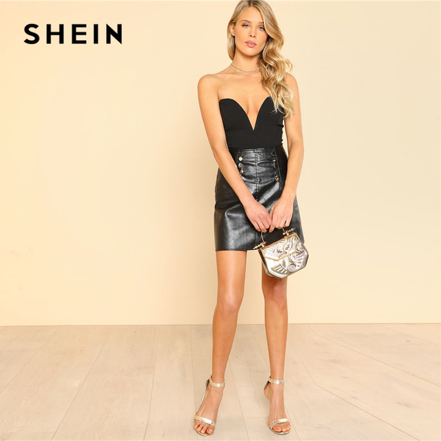 SHEIN Sexy Sweetheart Bustier Bodysuit Black Sleeveless Backless Plain Rompers With Lining 2018 Summer Skinny Bodysuit 3