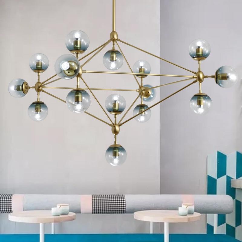 10/15/21 head golden color modo chandelier magic dna light glass globe chandelier dining light ac90-260v free shipping