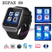 ZGPAX S8 Android 4.4 512M+4G Smart Watch built in 8G menory MTK6572 1.2GHz support 3G,wifi,GPS,Single SIM Camera for Android IOS