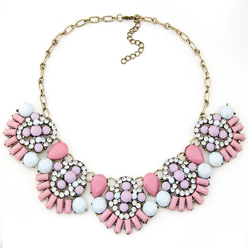 Vintage chokers Necklace Pink Resin Flower Necklace & Pendants Fashion Statement Necklace For Women Wholesale vintage bird wings necklace for women