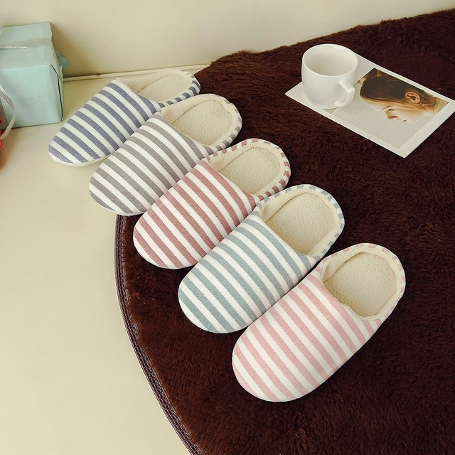 0d9a65a5c769 Women Men Warm Striped Slipper IndoorsAnti-slip Winter House Shoes New  Arrival 2018 Hot Sale High Quality Casual Shoes