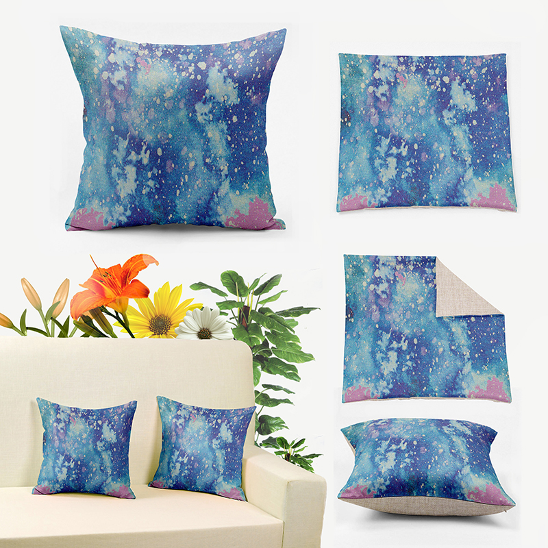 IKathoME Psychedelic Blue Watercolor Cushion Covers,Galaxy Pillows  Case,Square Accent Throw Pillows Cover For Couch Sofa A296