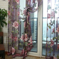 Hot Selling Home Textile Flower Embroidered luxury 3D Voile Curtains fabric Tulle Sheer Curtains For Kitchen Bedroom Living Room Curtains     -