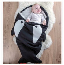 INS hot Cartoon shark sleeping bag Newborns sleeping bag Winter Strollers Bed Swaddle Blanket Wrap cute