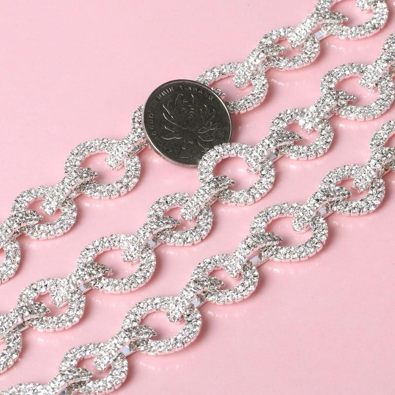 Bling Silver Bridal Glass Rhinestone Trim Applique For Wedding Dress Sewing Craft