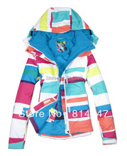 Free shipping 2014 new womens colorized plaid waterproof snowboard jackets colorful grid ski jacket snow parka
