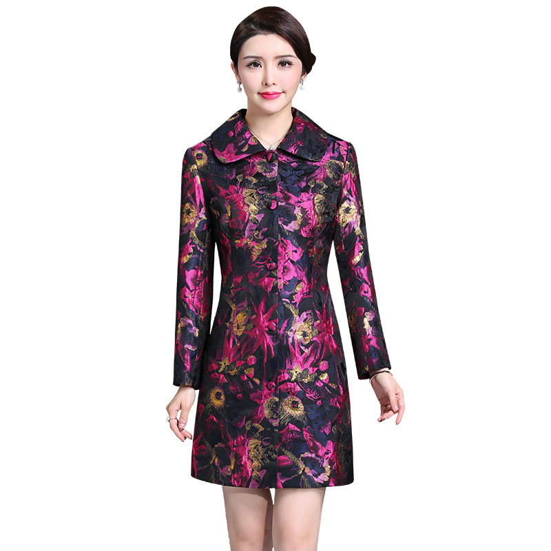 2019 Spring Elegant   Trench   coat for women Autumn New High quality Plus size Print Long Windbreaker Women Outerwear Casual coats