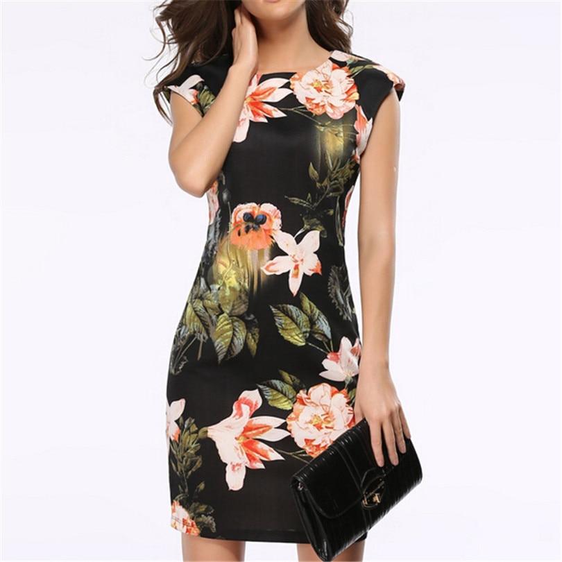New Femme Vestidos Dress Sleeveless Ladies Floral Tunique Bodycon Pencil Dresses Elegant Design Clothes Women Flowers Tunic S154