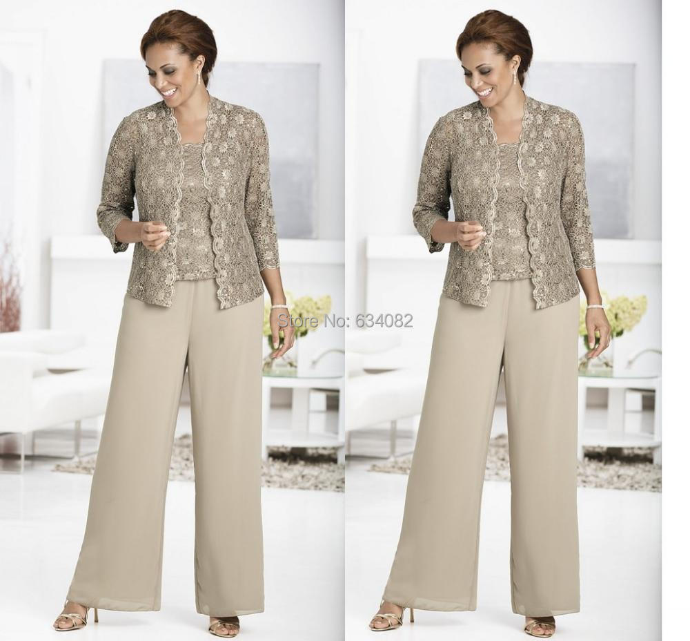 Three-piece Pant Set Ankle-Length Lace And Chiffon Mother Of The Bride Lace Pant Suits With Jacket Queen Anne Neckline 2015