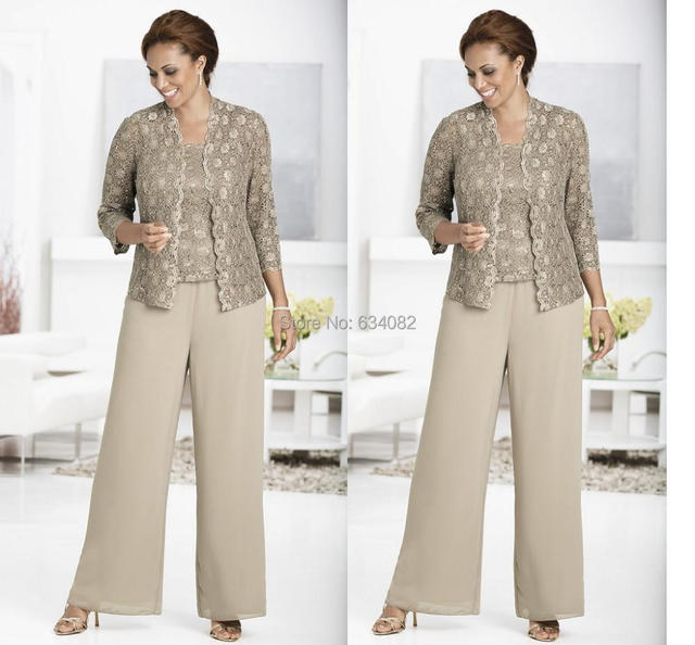 Three piece Pant Set Ankle Length Lace and Chiffon Mother of the ...