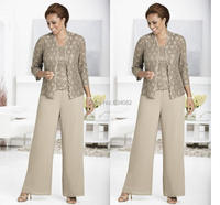 Three piece Pant Set Ankle Length Lace and Chiffon Mother of the Bride lace Pant Suits with jacket Queen Anne Neckline 2015