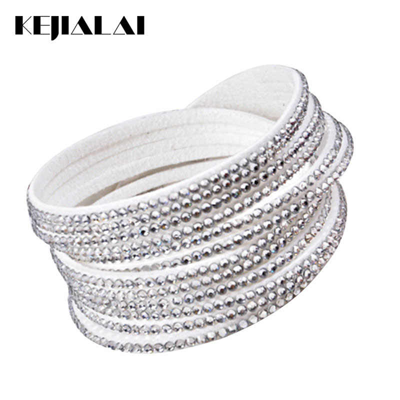 Kejialai 2018 Hot Sale Women Flannelette Stone Bracelet With Full Crystal Fashion Jewelry For Female Wrap Charm Bracelet KJL007