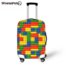 WHOSEPET Building Blocks Printing Fashion Suitcase Luggage Protective Covers Cute Kids Case Cover Travel Accessories Supplies