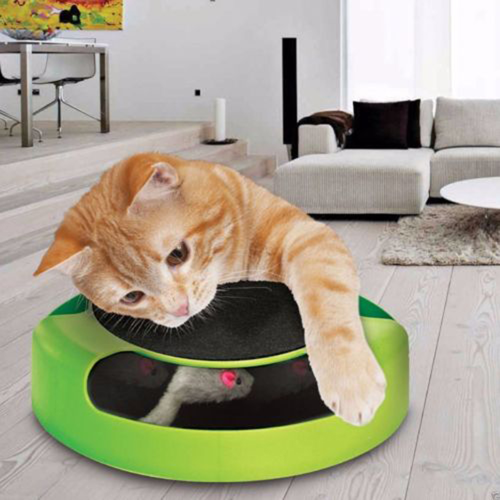 Once your cat has it all figured out, up the level of difficulty by rotating the middle disk and adjusting the openings. This toy is compatible with other Sensis products to create a longer obstacle, like this circuit track, which leads cats to a ball chase.
