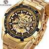 2016 WINNER BEST SELLING Men Skeleton Automatic Mechanical Wrist Watch Racing Design Glossy Stainless Steel Strap