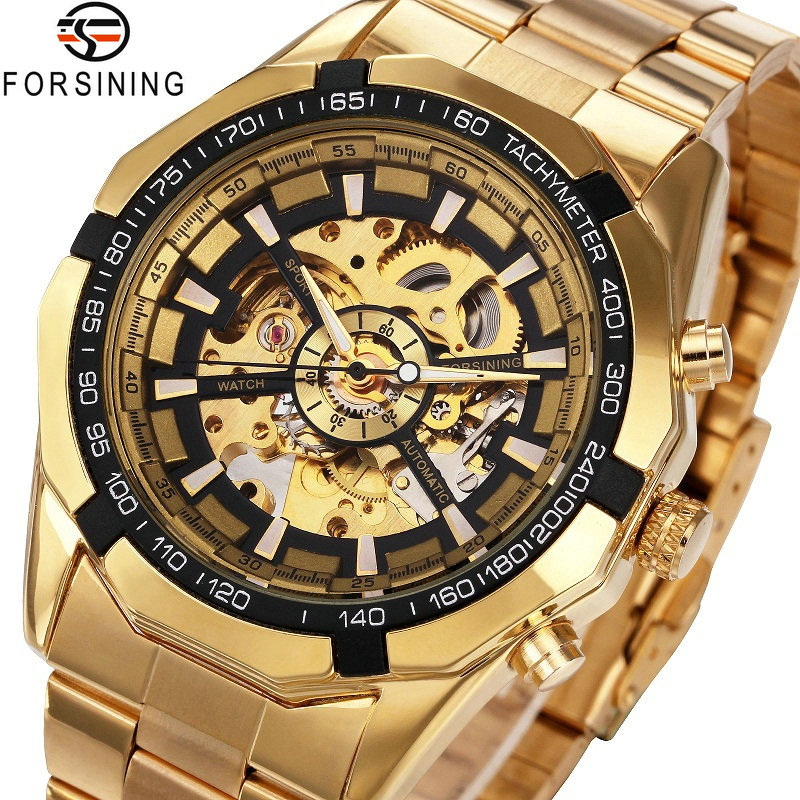 Winner Watch Men Skeleton Automatic Mechanical Watch Gold Skeleton Vintage Man Watch Mens FORSINING Watch Top Brand Luxury forsining gold hollow automatic mechanical watches men luxury brand leather strap casual vintage skeleton watch clock relogio