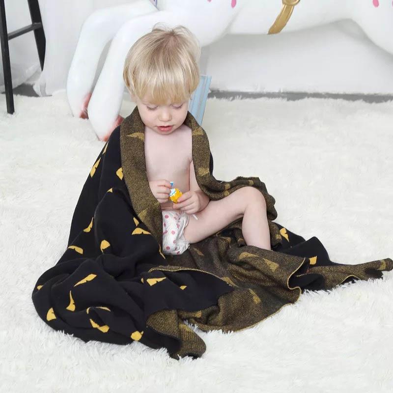 SummitKids 75x100 CM Zacht Katoen Gebreide Kinderwagen Nursery Deken Grote Premium Gebreide Baby Inbakeren Deken