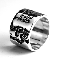 Real Pure Rings Sterling Silver 925 Mens Wide Skull Ring With Words Vintage Punk Style Male Thailand Rings Jewelry anelli uomo