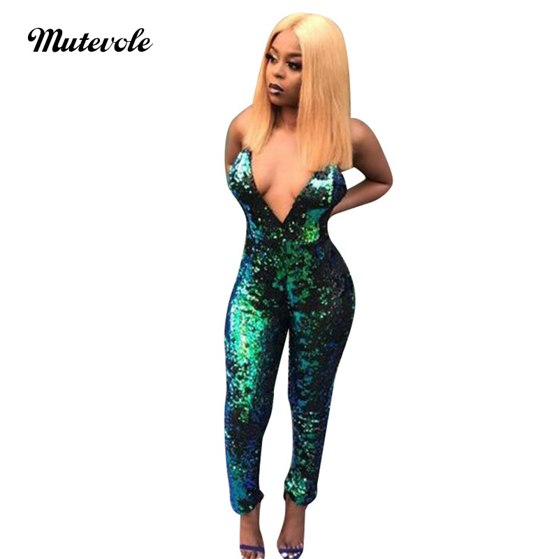 Mutevole Spaghetti Strap Green Sequin   Jumpsuit   Women V Neck Elegant Party   Jumpsuit   Sexy Backless Glitter Pailletten   Jumpsuit