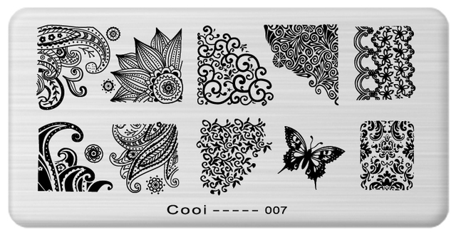 1pcs Latest Nail Template Cooi Series Art Plate Stainless Steel Image Konad Stamping