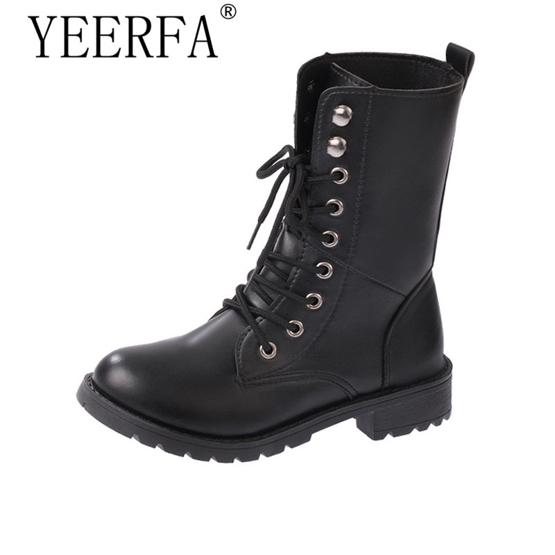 YIERFA Autumn winter black lace up army boots Women PU leather martin boots lovers motorcycle boots for women plus size EU35-42 2017 autumn fashion boots sequins women shoes lady pu leather white boots bling brand martin boots breathable black lace up pink