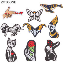 ZOTOONE Flower Skull Horse Patches Diy Stickers Iron on Clothes Heat Transfer Applique Embroidered Applications Cloth Fabric G