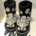 free shipping luxury unique Rhinestone sequins crystal baby girl's kid's bling Snow Boots children Boots warm Winter Shoes