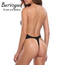 Burvogue Sexy Deep Plunge shapewear Thong Backless Deep U Body Shaper Underwear For Dress Push Up Women Bodysuit Clear Straps