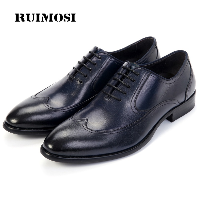 RUIMOSI Top Quality Wing Tip Man Dress Shoes Genuine Leather Brogue Oxfords Round Toe Formal Brand Men's Wedding Flats RF61
