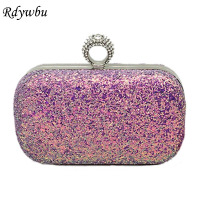 Rdywbu Luxury Mini Sequins Evening Bag 2018 Fashion Diamonds Finger Ring Clutch Wallets Wedding Purse Party Shoulder Bag B418