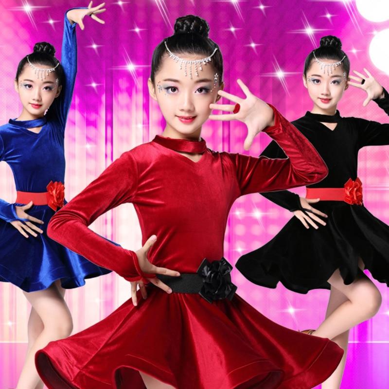 2018 girls velvet latin dresses for dancing ballroom dance dress rumba samba children samba cha cha tango skirt standard salsa