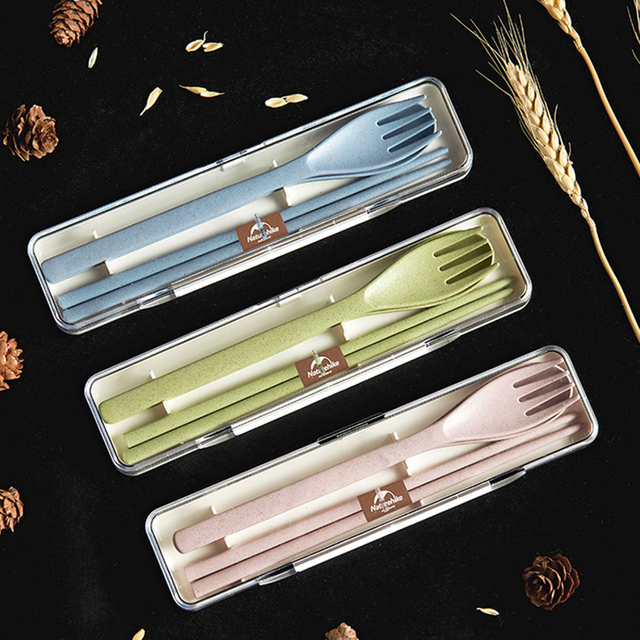 3-Pieces Tableware Set Spoon Chopstick Fork Eco-Friendly Wheat Straw Cutlery Set Flatware Service De Table Travel Picnic Camping