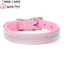 free shipping size S#1.5*20-28cm,M#2.0*28-36cm napad pu material with luxurious rhinestone decoration dog collar pet