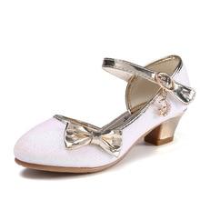 Children Princess Sandals Kids Girls Wedding Shoes High Heels Dress Shoes Bowtie Gold Shoes For Girls party shoe kids gift