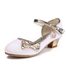 Sandalias de princesa para niños y niñas, zapatos de boda con tacón alto, zapatos de vestir con lazo dorado, zapatos de fiesta, regalo para niños