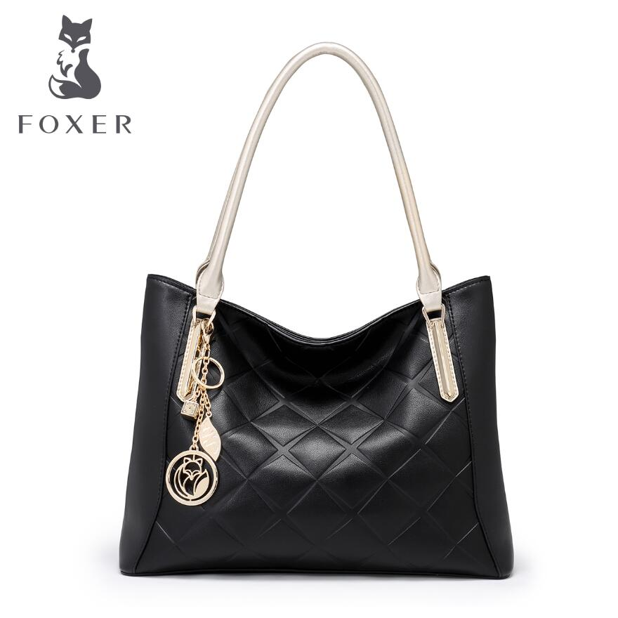Genuine Leather  women bag FOXER / 2017 new fashion handbag Leisure wild shoulder Messenger bag Large capacity Tote bag