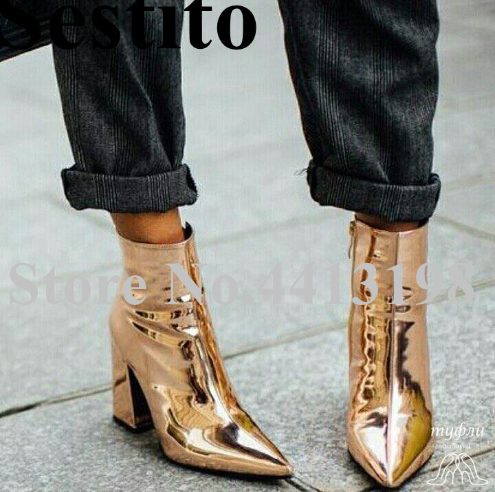 2019 Newest European Fashion Gold Pointed Toe Short Boots Ankle Boots For Women High Square Heels Zip Ladies Shoes Spring/Autumn2019 Newest European Fashion Gold Pointed Toe Short Boots Ankle Boots For Women High Square Heels Zip Ladies Shoes Spring/Autumn