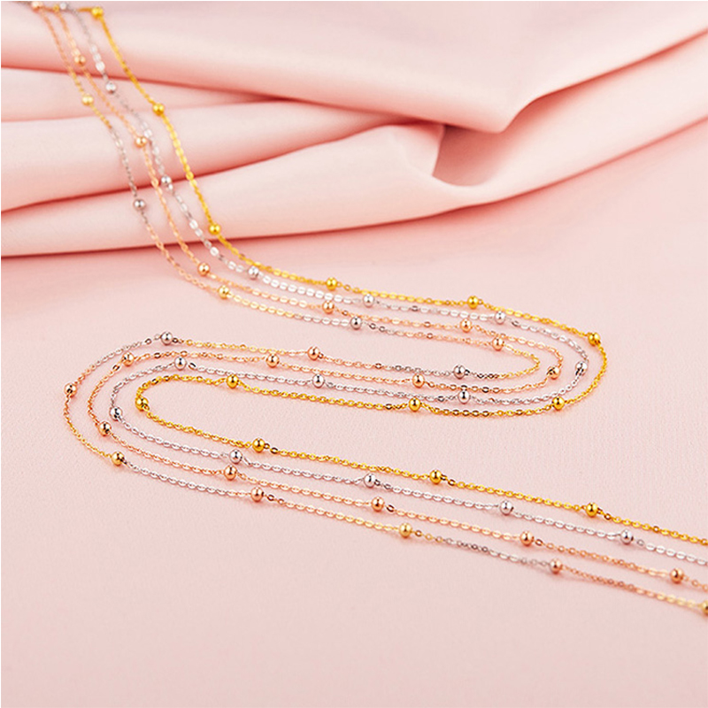 Robira Trendy Round Golden Ball Chain Necklace 18K Yellow White Rose Gold Necklaces Colar de Ouro O Chains For Gift Fine Jewelry yoursfs dangle earrings with long chain austria crystal jewelry gift 18k rose gold plated