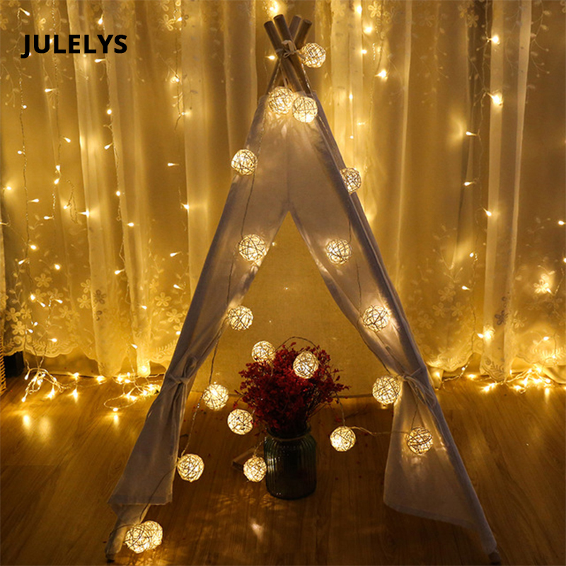 JULELYS LED Light Ball Thai Lanterns String Lights Christmas Garland Window Rattan Ball Lights For Holiday Wedding Decorations