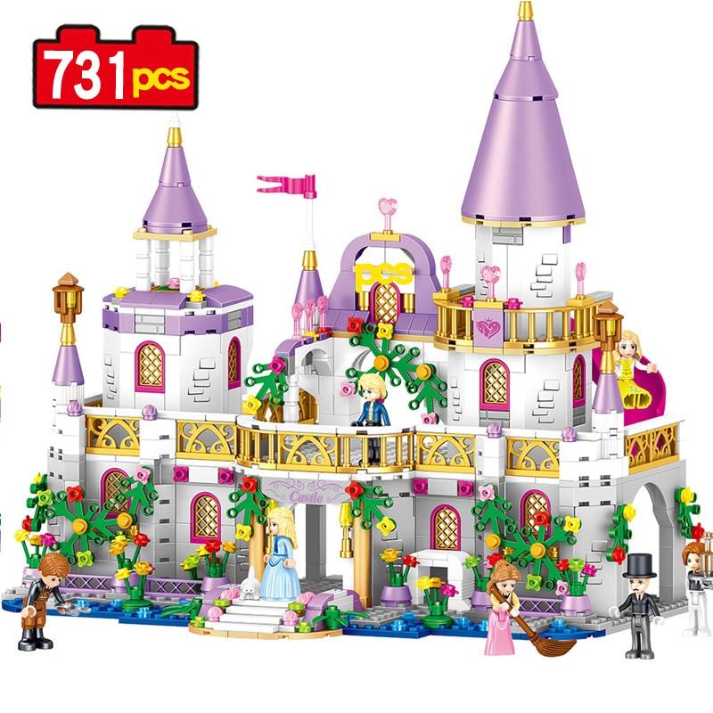 731PCS Dream Shadow City Of Windsor Castle Princess Compatible Legoe Building Blocks Bricks toys gift 1106 sluban 0152 block compatible legoe pink dream princess castle model 472pcs diy educational building toys gift for children