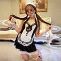 Women's maid uniform full lace dress transparent  sleepwear short skirt set temptation sexy lingerie baby dolls maid bow cosplay