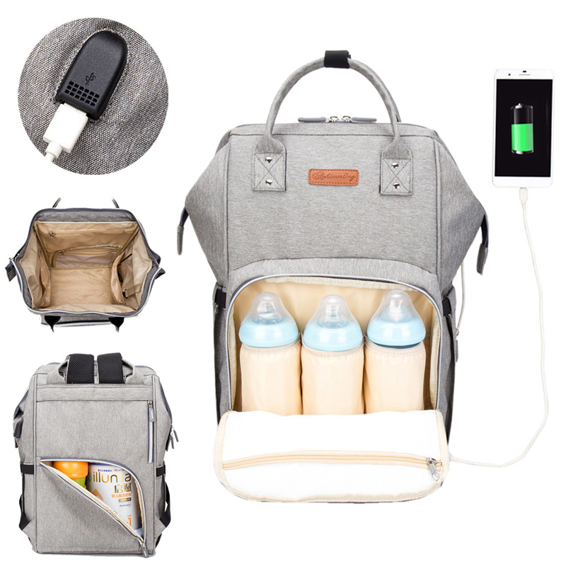 Diaper Bag Backpack USB Interface Nappy Bag Large Capacity Waterproof Mummy Maternity Bag for Stroller Baby