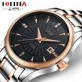 Apuramento Marca FOTINA JK Homens Relógio de Ouro Preto Branco Relógios Completa Aço Quartz Negócios Vestido Relógio À Prova D' Água Relogio masculino